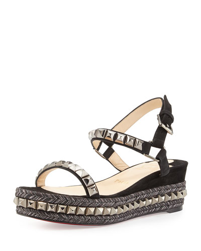 Cataclou Studded Suede Wedge Sandal, Black/Dark Gunmetal