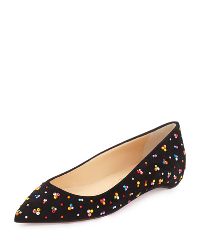 Pigalle Follies Embellished Red Sole Skimmer Flat, Black/Multi
