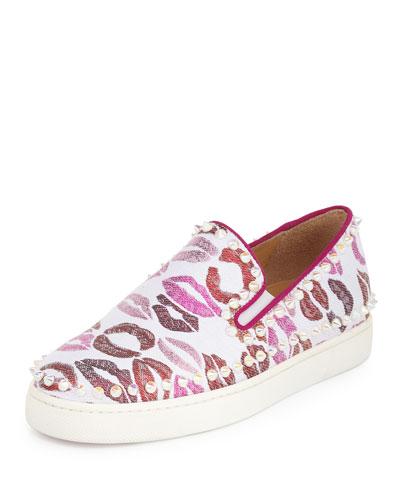 Pik Boat Woman Lip-Print Sneaker, White