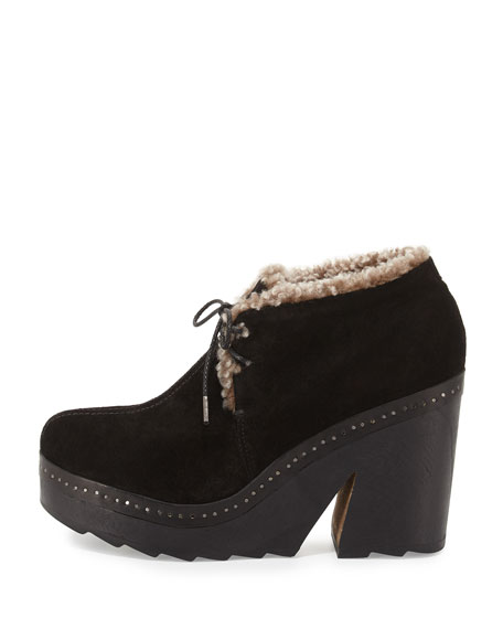 Inez Shearling-Lined Suede Clog, Black
