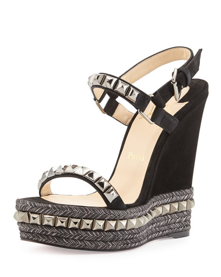 a212f28bfccd Christian Louboutin Cataclou Studded Suede Wedge Sandal