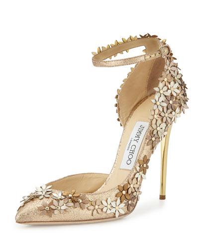 Lorelai Glittered Applique Half-d'Orsay Pump, Champagne