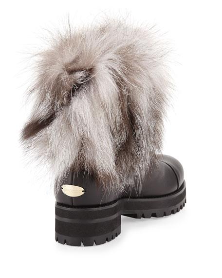 Dana Fur-Trimmed Leather Boot, Black/White