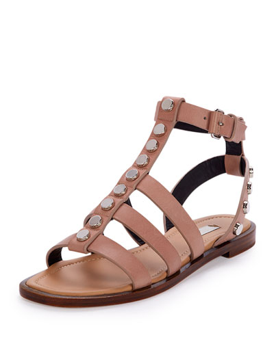 Studded Leather Gladiator Sandal, Beige Sienne