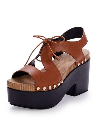Leather Lace-Front Platform Sandal, Camel