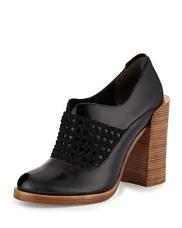 Claridge Open-Weave Leather Bootie, Black