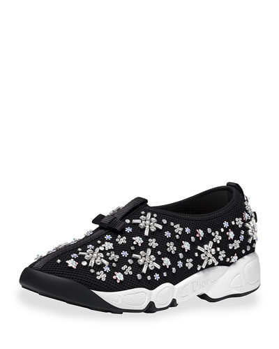 Crystal-Embellished Mesh Trainer, Black