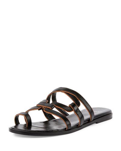Kaliste Leather Toe-Ring Flat Sandal, Black/Tan