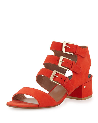 Klio Nubuck Three-Buckle Sandal, Red