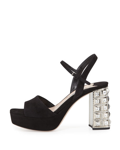 342cf2380724 Miu Miu Suede Jewel-Heel Platform Sandal