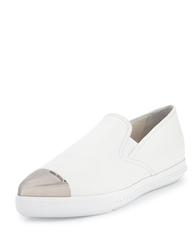 Metal Cap-Toe Skate Shoe, White (Bianco)