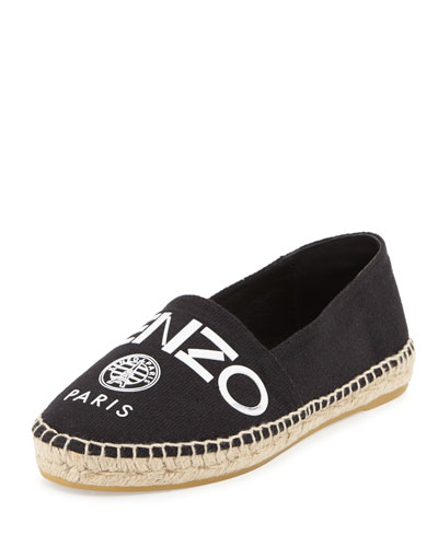 Logo Canvas Espadrille Flat, Black