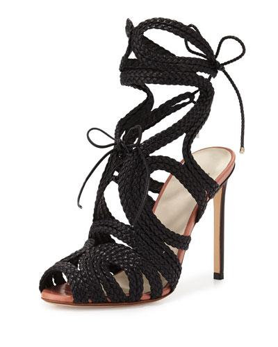 Woven Leather Gladiator Sandal, Black (Nero)