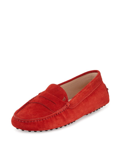 Suede Gommini Penny Loafer, Red