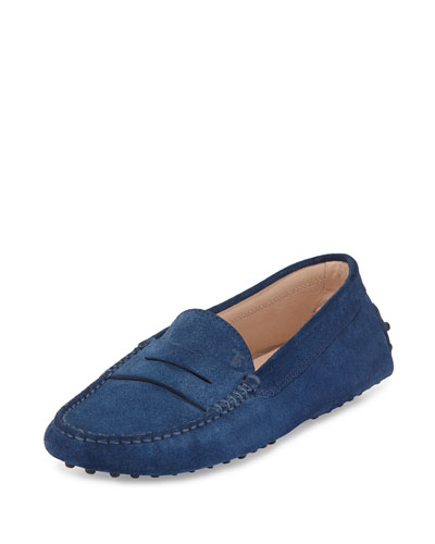 Suede Gommini Penny Loafer, Blue