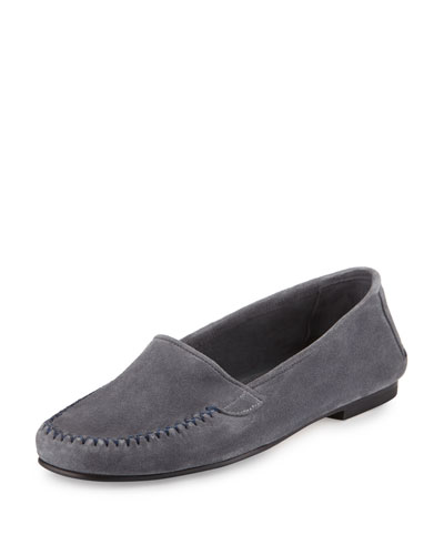 Speed Suede Moccasin Flat, Gray