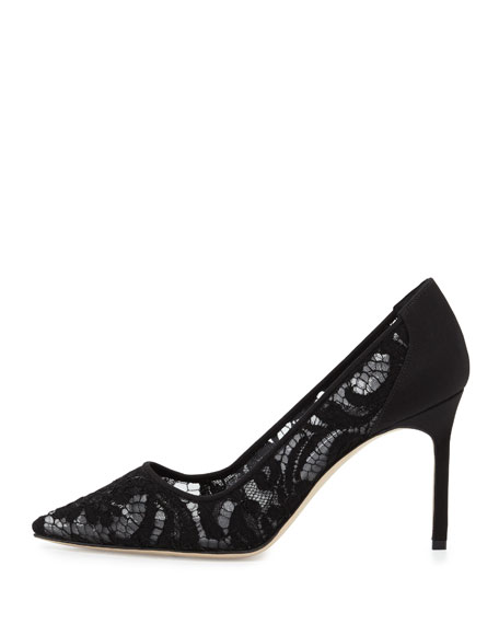 BB Lace Point-Toe 70mm Pump, Black