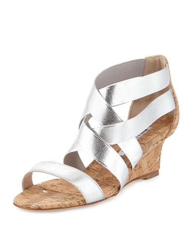 Glassa Crisscross Wedge Sandal, Silver