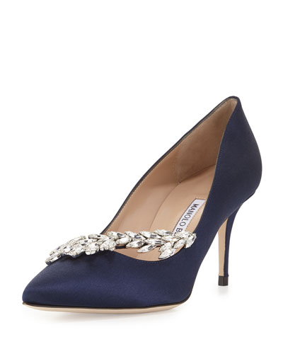Nadira Jeweled Satin Pump, Navy