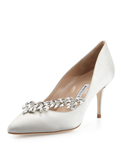 Nadira Jeweled Satin Pump, Silver