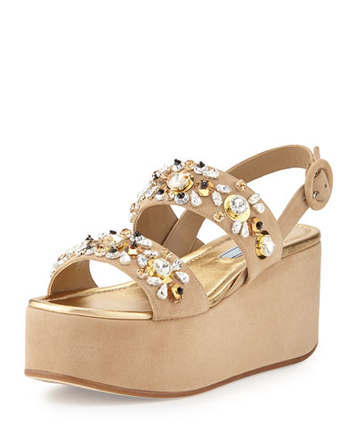 Jeweled Two-Band Suede Platform Sandal, Cammeo