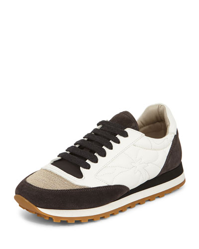 Monili Cap-Toe Leather Sneaker, White/Black