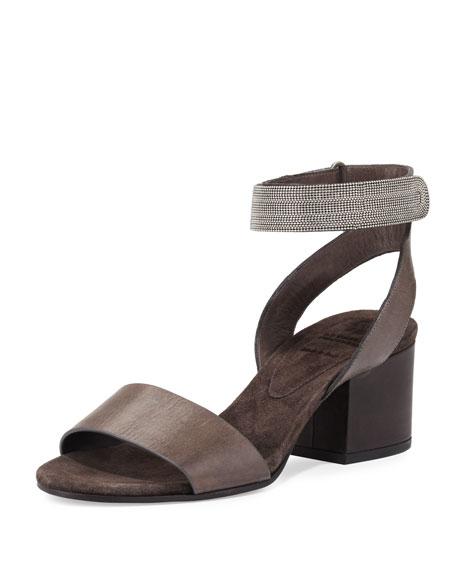 Monili Strappy Ankle-Cuff Sandal, Espresso