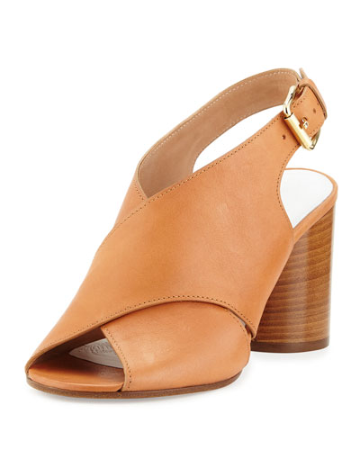 Leather Crisscross Slingback Sandal, Tan