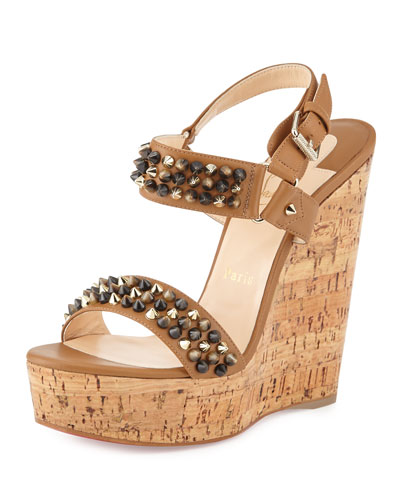 christian louboutin fake shoes - christian louboutin metallic sandals Bronze cork wedges | The ...