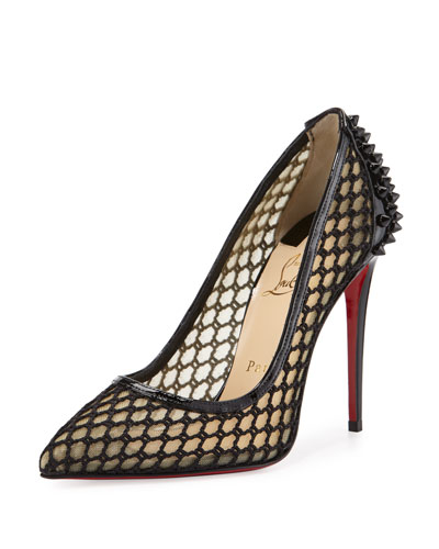 Guni Fishnet Red Sole 100mm Pump, Black