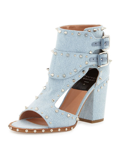 Deric Studded Denim Block-Heel Sandal, Light Blue