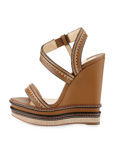knock of shoes - christian louboutin trepi 140 scalloped leather wedge sandals ...