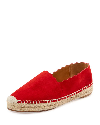 Lauren Flat Scalloped Espadrille, Red Flame