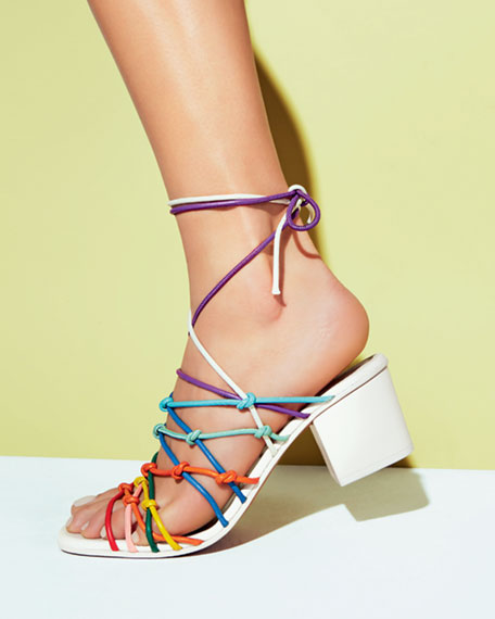cad19bf4c7c Knotted Ankle-Wrap Sandal Multicolor