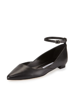 Rima Ankle-Strap Leather Flat, Black