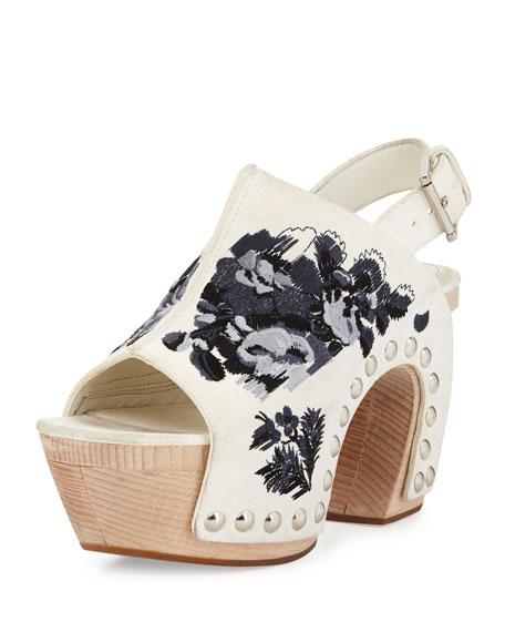 085a2c0114a Alexander McQueen Embroidered Leather Platform Clog Sandal