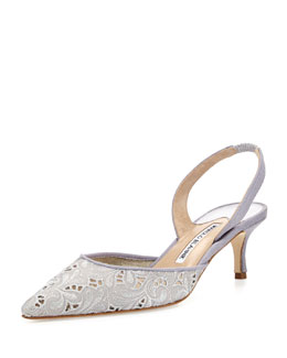 Carolyne Eyelet Halter 50mm Pump, Gray