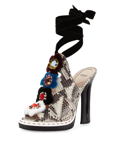 Fur-Trimmed Python Mule Sandal, Black/White/Multi