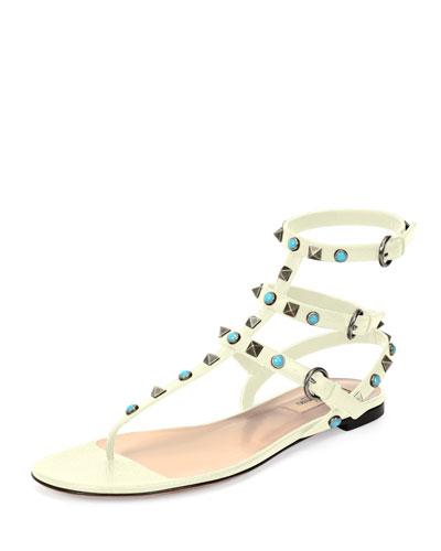 Rockstud Cabochon Leather Flat Sandal, Light Ivory