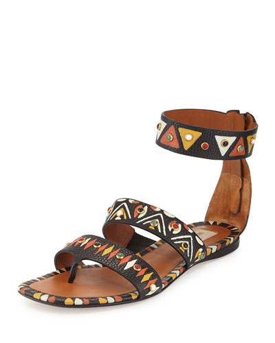 Hand-Painted Studded Flat Sandal, Nero/Multi
