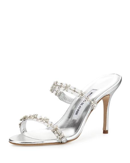 Manolo Blahnik Embellished Side Sandals sale low price Nlkc9KT