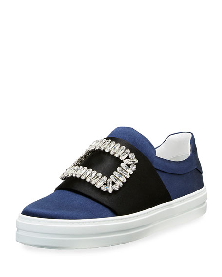 Strass Buckle Satin Slip-On Sneaker, Navy/Black