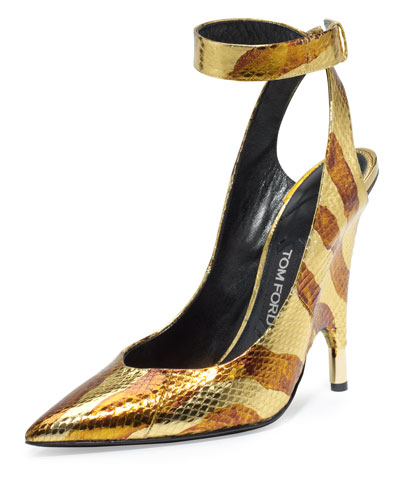 Watersnake Ankle-Wrap Pump, Gold/Brown