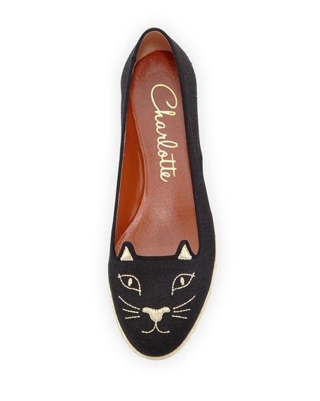 Capri Cats Linen Espadrille Flat, Black