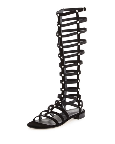 Gladiator Tall Leather Flat Sandal, Black