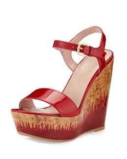 Single Patent Cork Wedge Heel, Flame