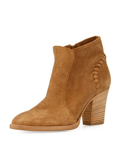Fern Embossed Suede Ankle Boot, Bark