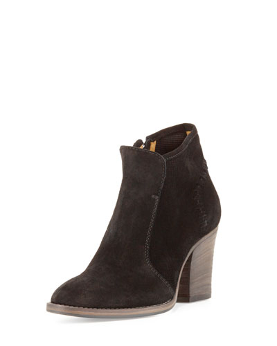 Fern Embossed Suede Ankle Boot, Black