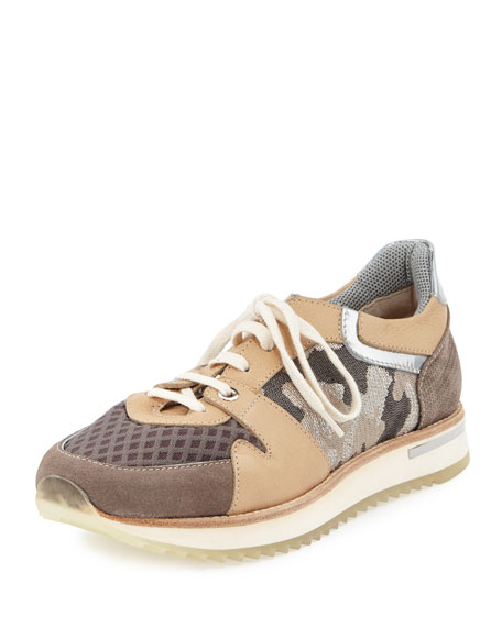 Nanette Camo Leather Trainer Sneaker, Natural