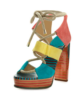 Halley 120mm Multicolor Rope Sandal, Malibu/Buttercup/Coral Pink